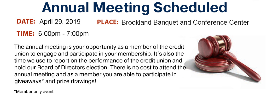 Our Annual Meeting will be 6 – 7 pm April 29th at the Brookland Banquet & Conference Center